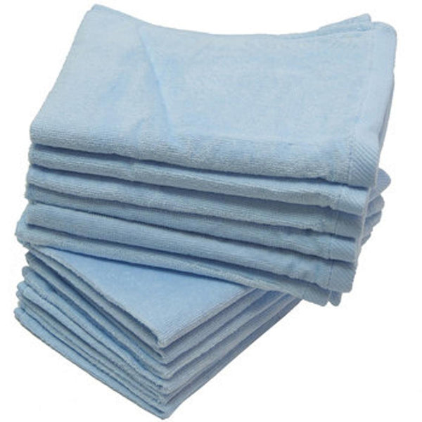 12 Pack Terry Velour Fingertip Towels, Light Blue Color - GeorgiaBags