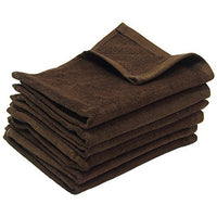 12 Pack Terry Velour Fingertip Towels, Brown Color - GeorgiaBags