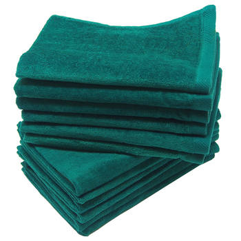 12 Pack Terry Velour Fingertip Towels, Forest Green Color - GeorgiaBags