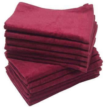 12 Pack Terry Velour Fingertip Towels, Maroon Color - GeorgiaBags