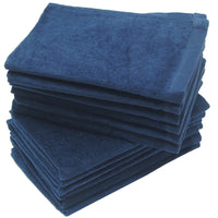 12 Pack Terry Velour Fingertip Towels, Navy Color - GeorgiaBags