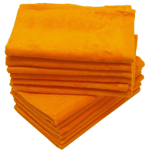 12 Pack Terry Velour Fingertip Towels, Orange Color - GeorgiaBags
