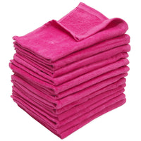 12 Pack Terry Velour Fingertip Towels, Hot Pink Color - GeorgiaBags