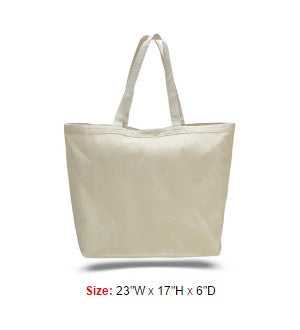 Heavy Canvas Tote Bag with Velcro Closure and Self Fabric Handles.
