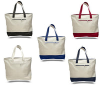 (12 Pack ) Strong Heavy Canvas Zipper Tote Bags with Zippered Closure - GeorgiaBags