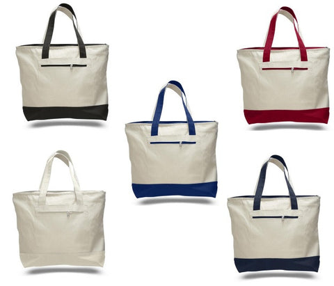 Strong Heavy Canvas Zippered Tote Bags,Inside Pocket. Gusset.