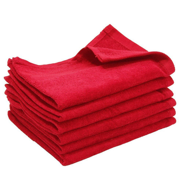 12 Pack Terry Velour Fingertip Towels, Red Color - GeorgiaBags
