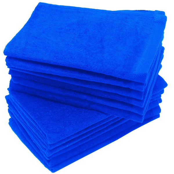 12 Pack Terry Velour Fingertip Towels, Royal Color - GeorgiaBags