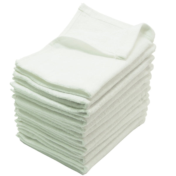 12 Pack Terry Velour Fingertip Towels, White Color - GeorgiaBags