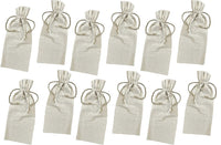 Set of 12 Natural Linen Wine Bags with Drawstrings,Perfect for Wedding Favor Bags,Party, Promotional - GeorgiaBags