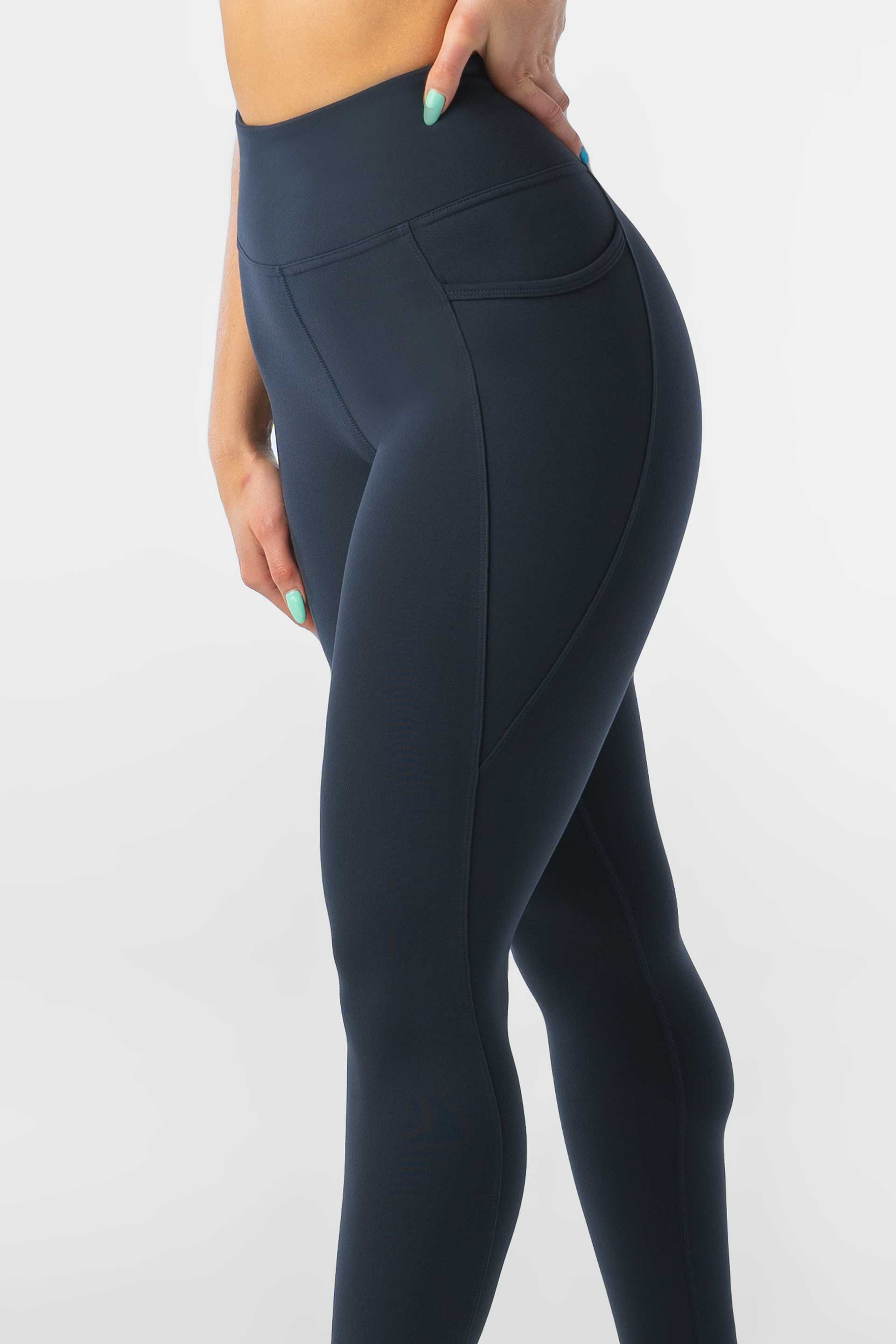 HIGH WAISTED SIDE POCKET F/L TIGHT - NAVY