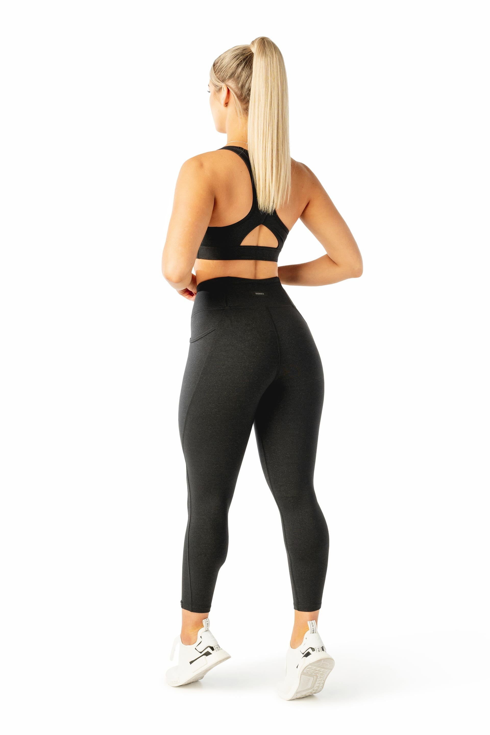 HIGH WAISTED SIDE POCKET 7/8 TIGHT - BLACK MARL