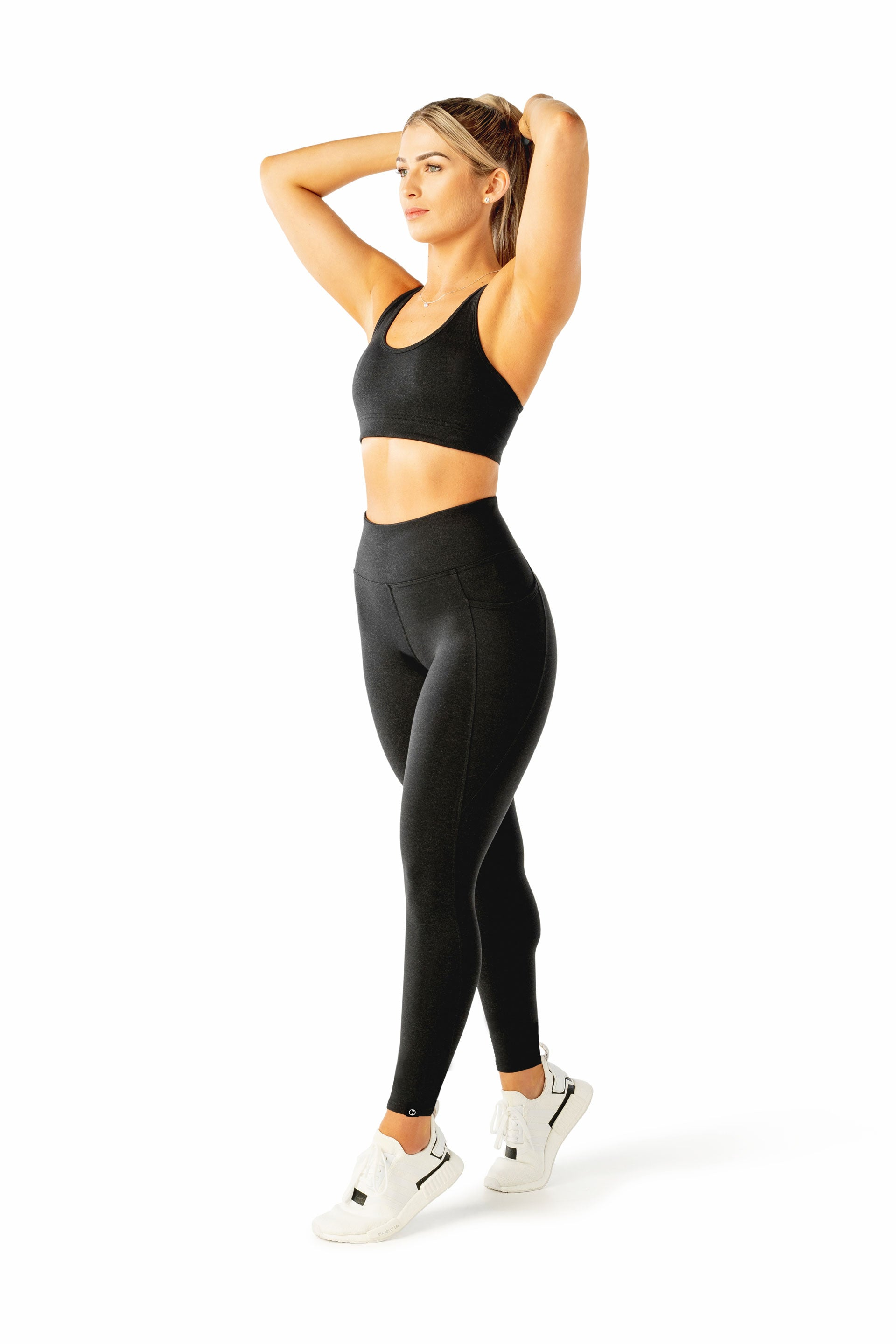 HIGH WAISTED SIDE POCKET F/L TIGHT - BLACK MARL
