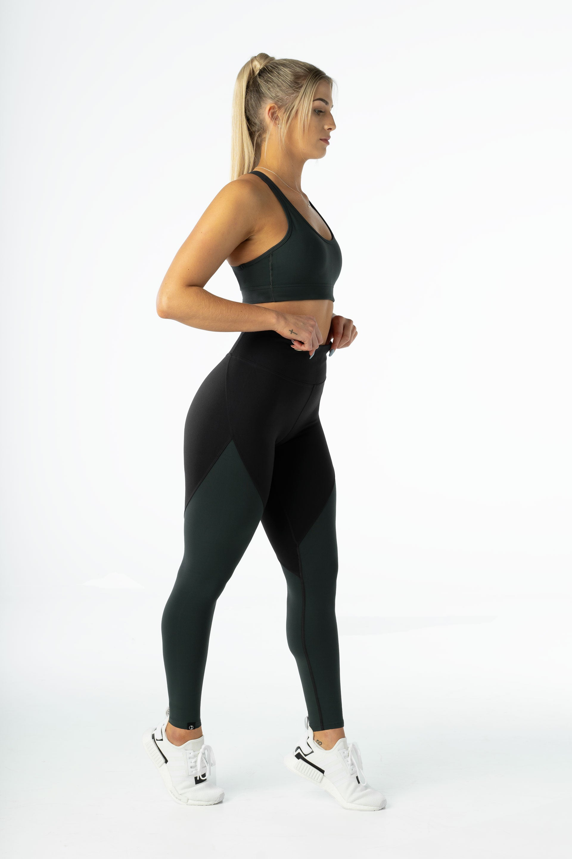 SCULPT F/L TIGHTS - BLACK / GREEN
