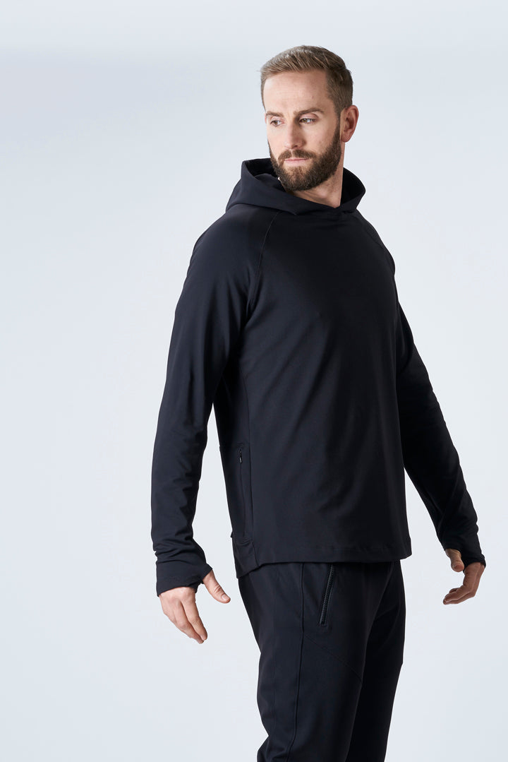 TECH STRETCH TRAINING HOODIE - BLACK