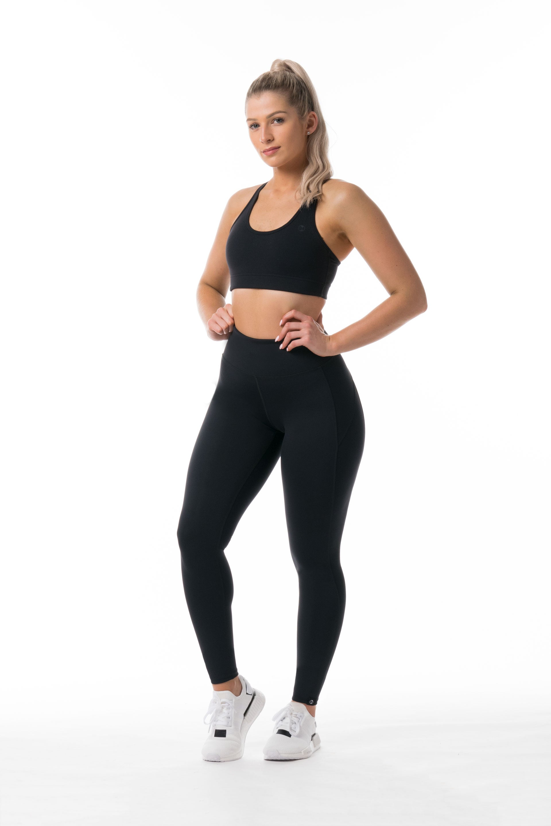 Performance Knit F/L HIGH WAISTED TIGHTS - BLACK
