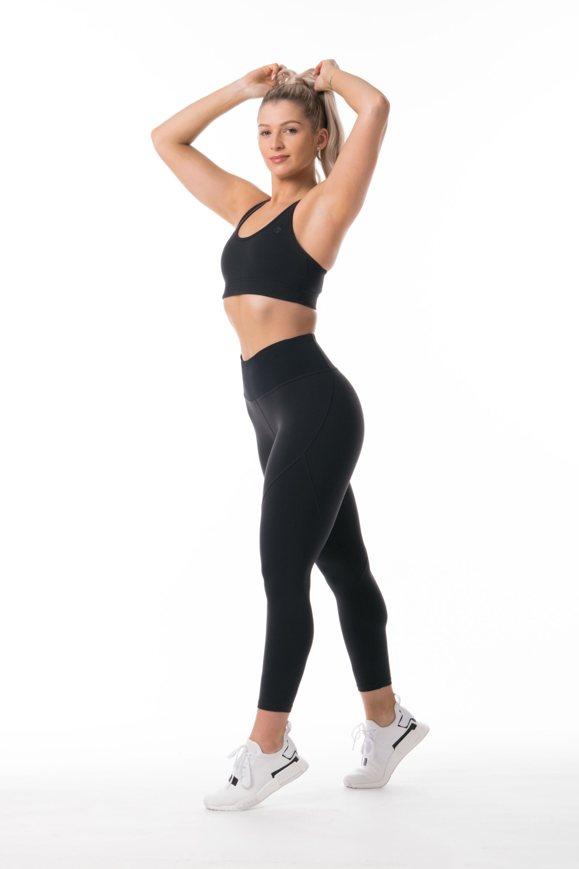 SCULPT 7/8 TIGHTS - BLACK ( OLD VERSION) WHITE SPANDEX ) Size XS only