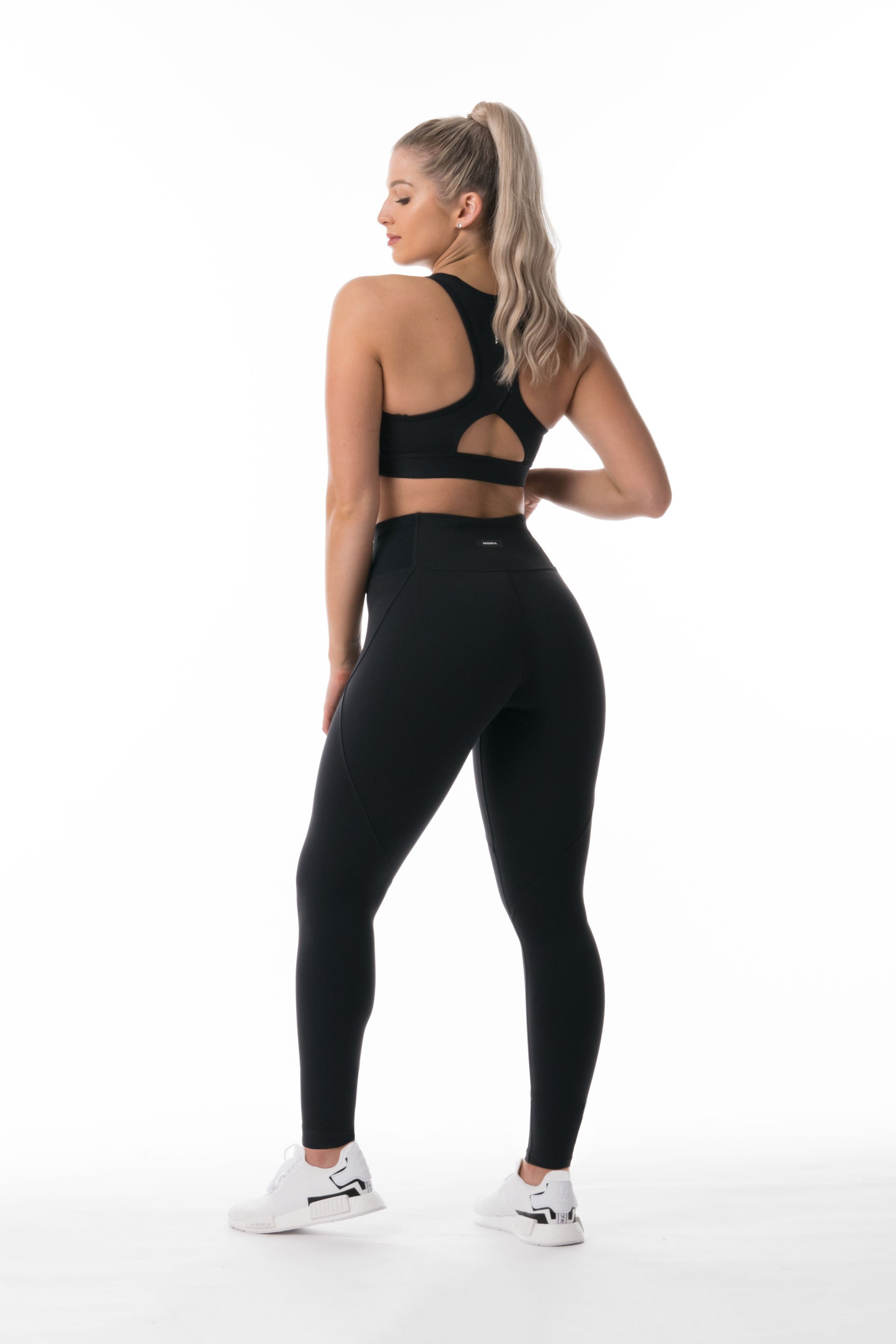 SCULPT F/L TIGHTS - BLACK ( OLD VERSION ) WHITE SPANDEX