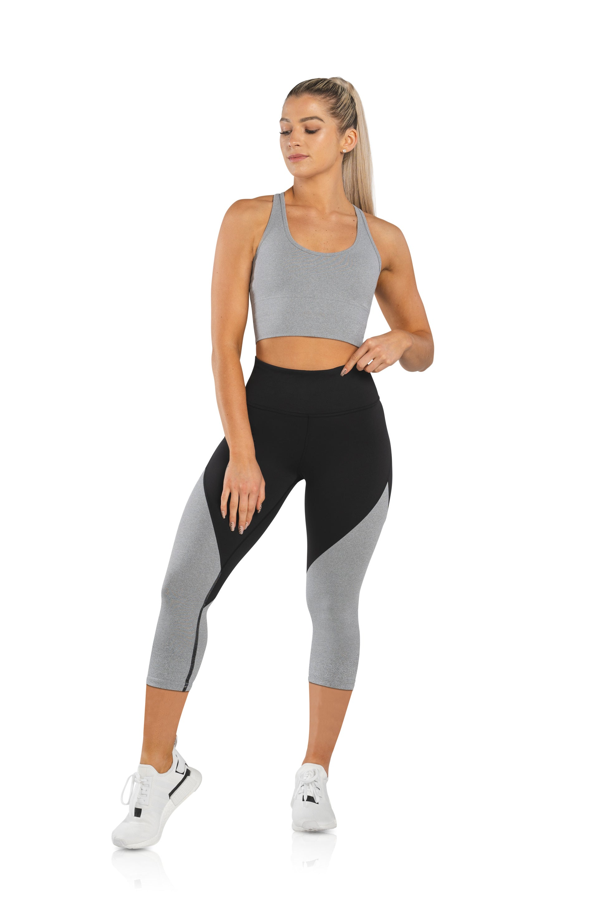 SCULPT 3/4 TIGHTS - BLACK / DOVE GREY MARL - PRE ORDER