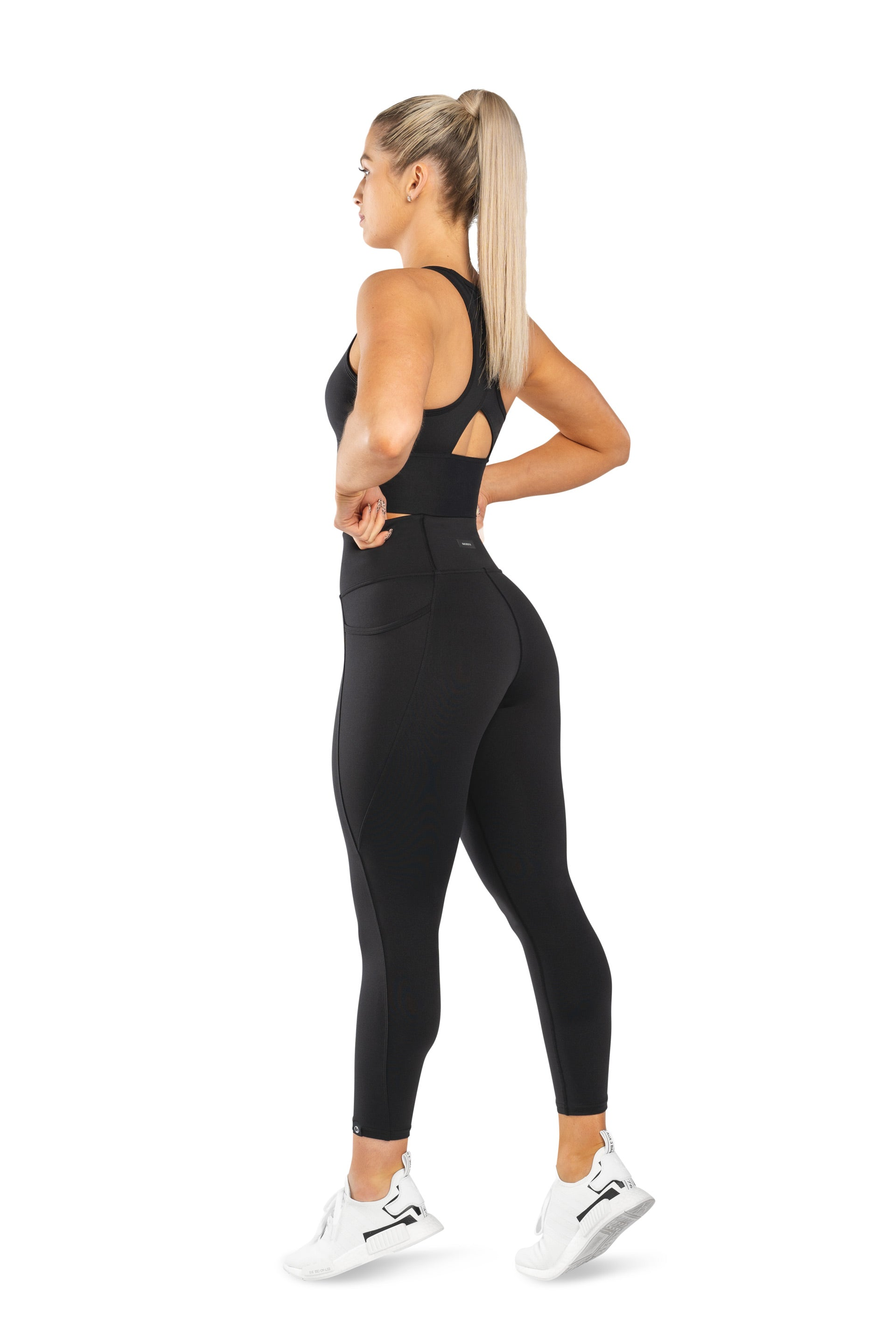 HIGH WAISTED SIDE POCKET 7/8 TIGHT - BLACK