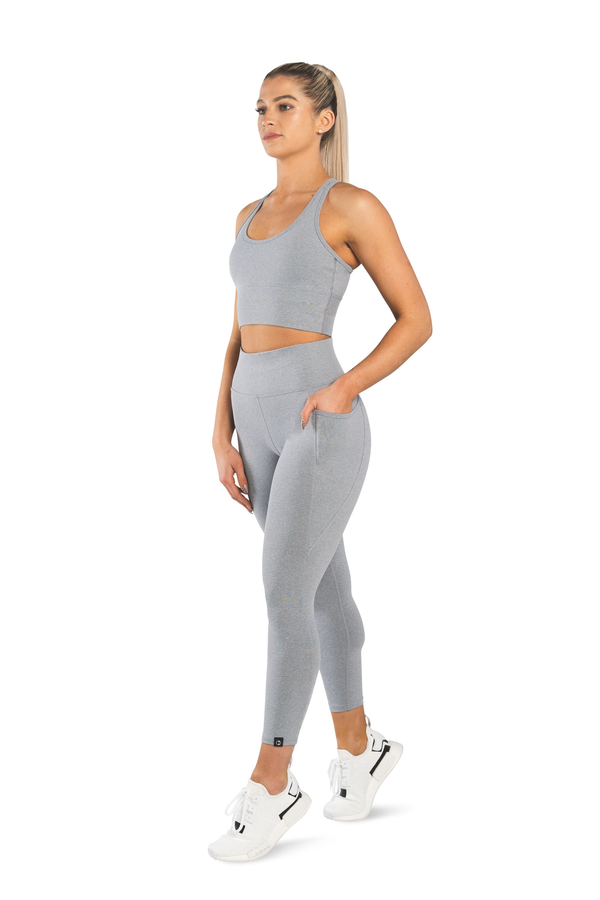 HIGH WAISTED SIDE POCKET 7/8 TIGHT - DOVE GREY MARL - PRE ORDER