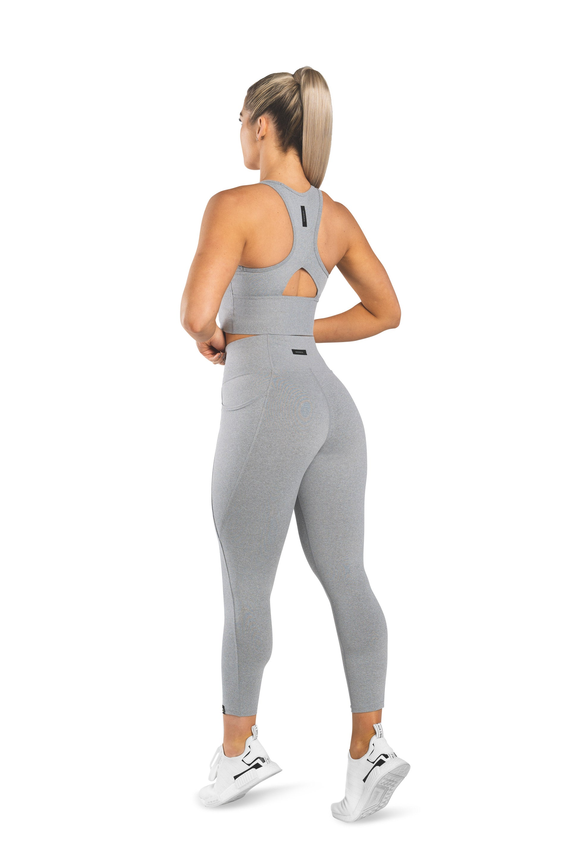HIGH WAISTED SIDE POCKET 7/8 TIGHT - DOVE GREY MARL