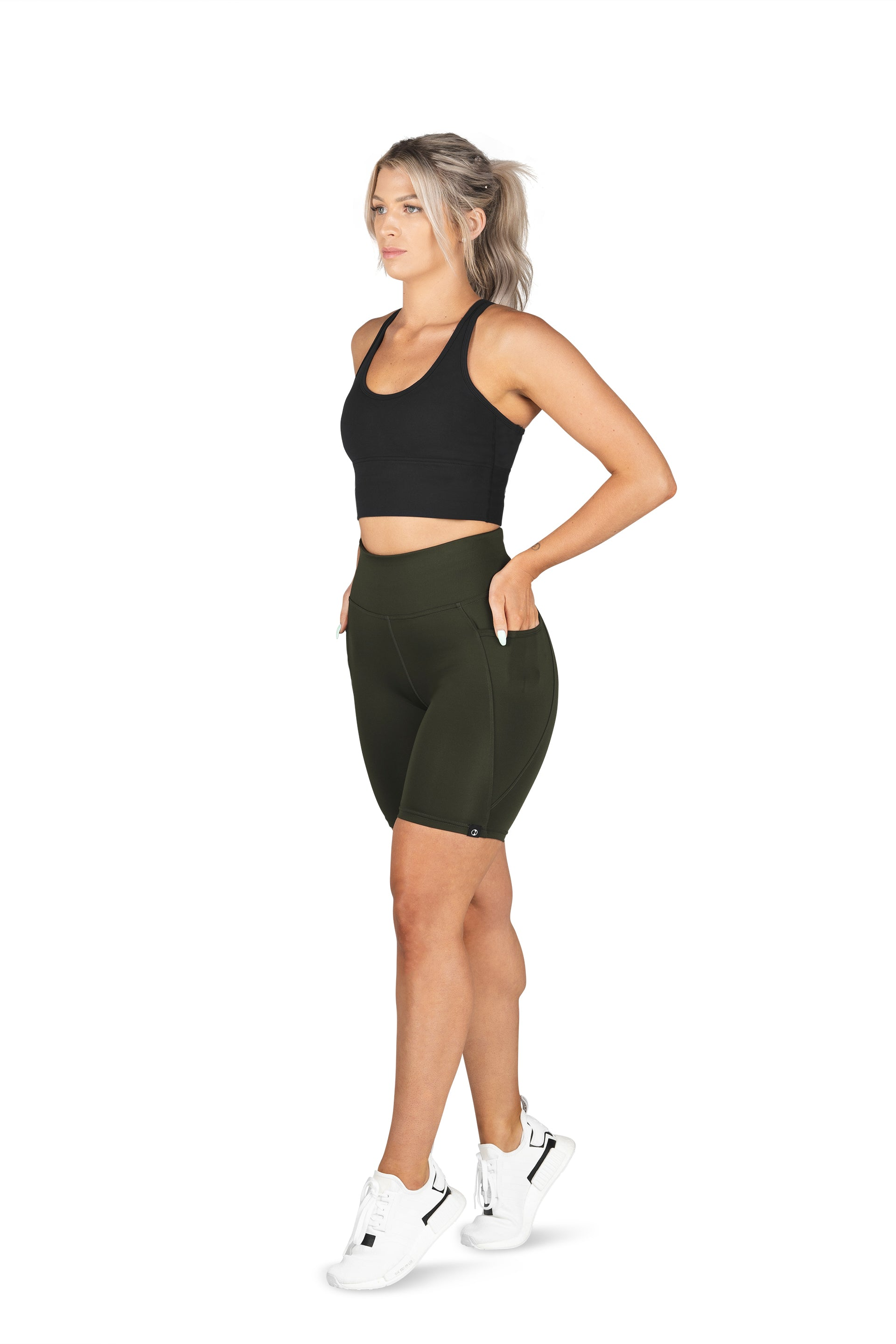 HIGH WAISTED SIDE POCKET SHORT ( RECYCLED PERFORMANCE KNIT ) - GREEN