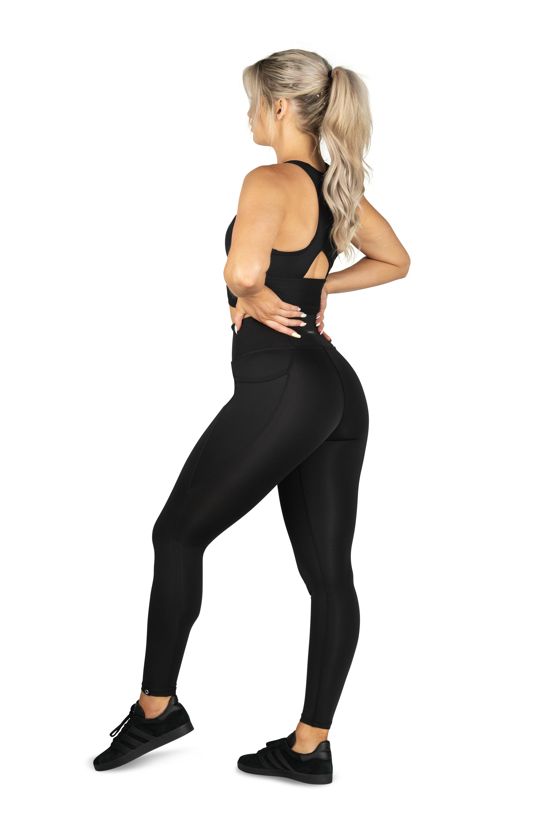 HIGH WAISTED SIDE POCKET F/L TIGHT ( RECYCLED PERFORMANCE KNIT ) - BLACK