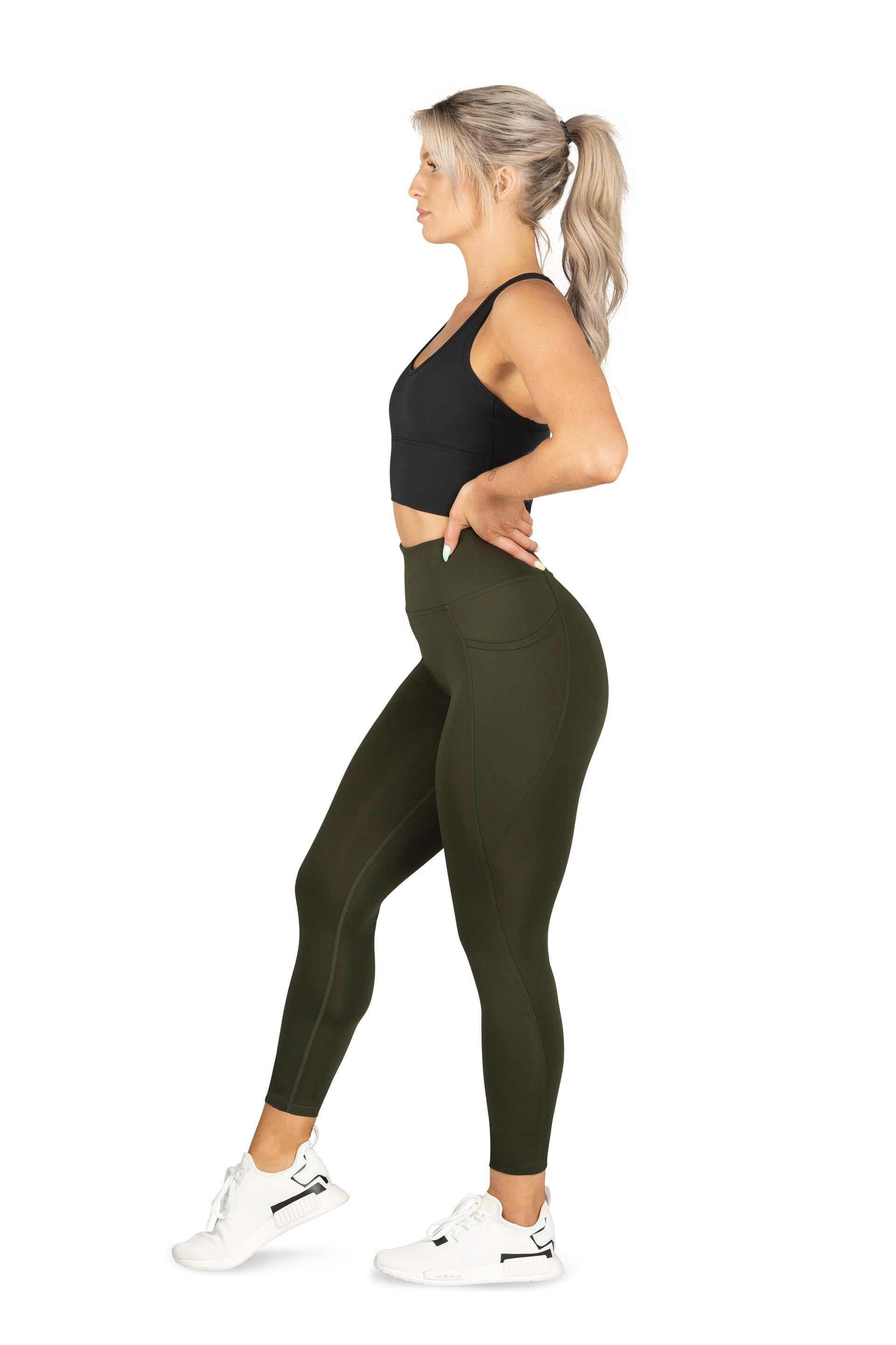 HIGH WAISTED SIDE POCKET 7/8 TIGHT ( RECYCLED PERFORMANCE KNIT ) - GREEN