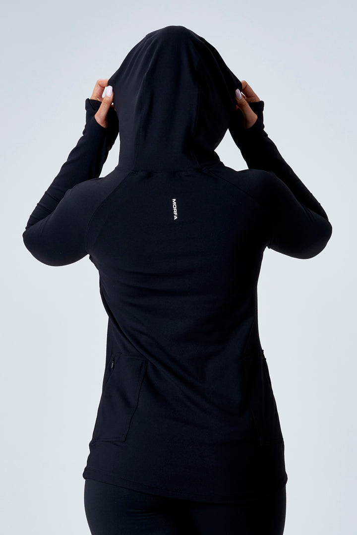 TECH STRETCH ACTIVE HOODIE - BLACK - ( SIZES: XS )