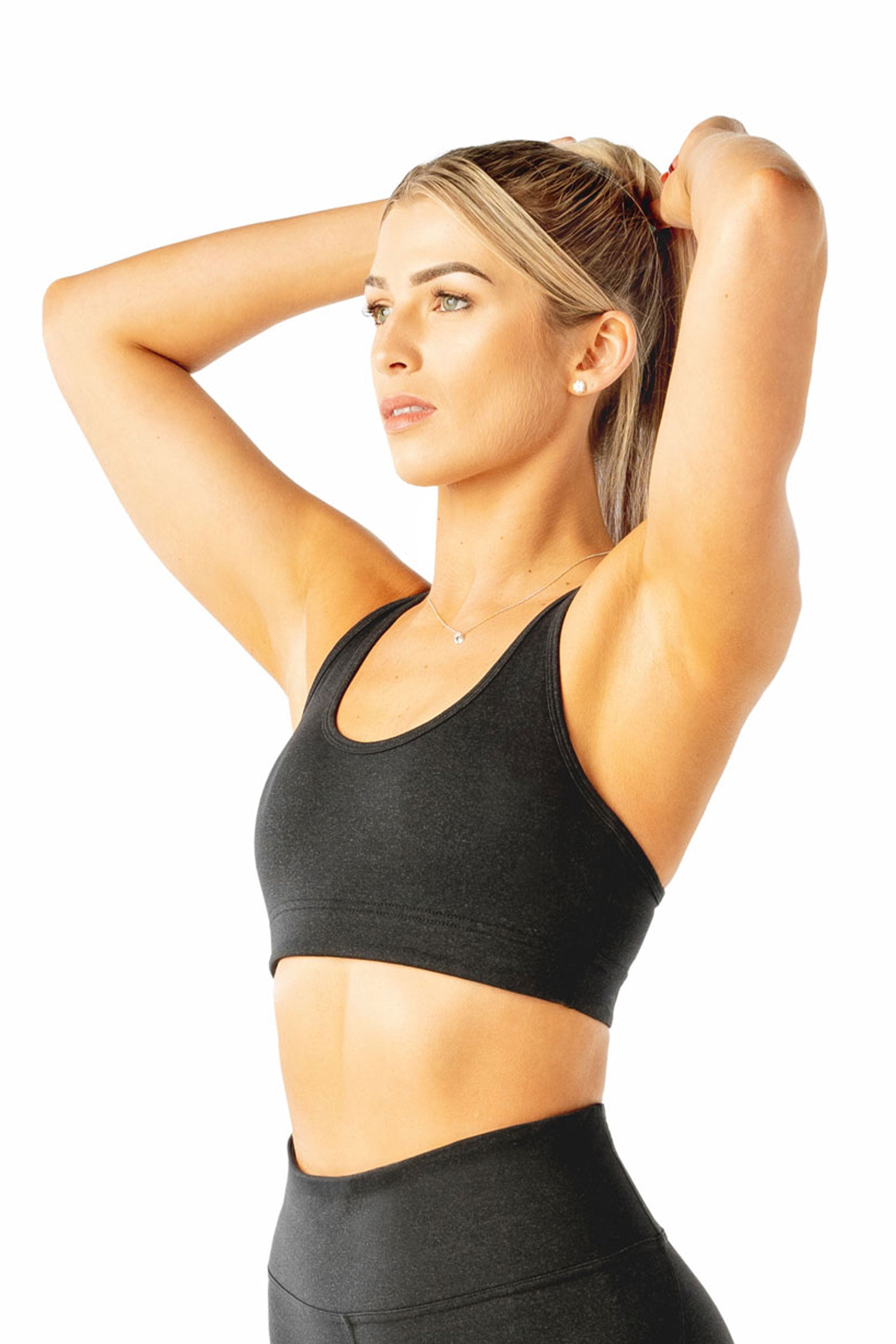 Cut Out Sports Bra - Black Marl