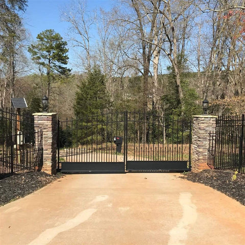 Image of ALEKO Gates ALEKO Products Steel Dual Swing Driveway Gate - VENICE Style - 18 x 6 Feet DG18VEND-AP