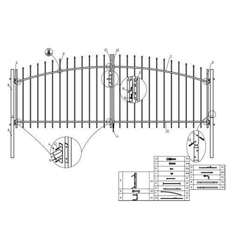 ALEKO Gates and Fences ALEKO Products DIY Arched Steel Dual Swing Driveway Gate Kit with Lock - ATHENS Style - 11 x 5 Feet DWGD11X5-AP
