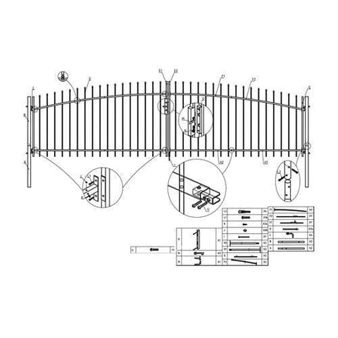 ALEKO Gates and Fences ALEKO Products DIY Arched Steel Dual Swing Driveway Gate Kit with Lock - ATHENS Style - 15 x 5 Feet DWGD15X5-AP