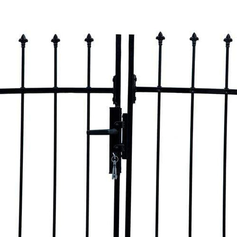 ALEKO Gates and Fences ALEKO Products DIY Steel Dual Swing Driveway Gate Kit - ATHENS Style - 11 x 5 Feet with Pedestrian Gate - 3 x 5 Feet DWGD11X5PD-AP