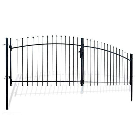 ALEKO Gates and Fences ALEKO Products DIY Steel Dual Swing Driveway Gate Kit - ATHENS Style - 13 x 5 Feet with Pedestrian Gate - 3 x 5 Feet DWGD13X5PD-AP