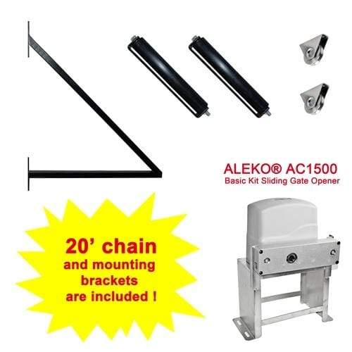 ALEKO Gates and Fences ALEKO Products Set of Sliding Gate Hardware Kit with Gate Opener SLIDEKITAC1500-AP SLIDEKITAC1500-AP