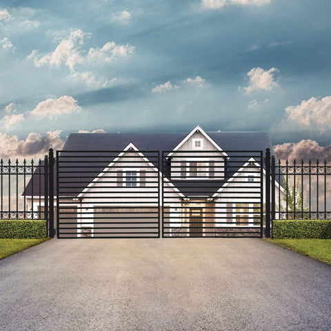 Image of ALEKO Gates and Fences ALEKO Products Steel Dual Swing Driveway Gate - MILAN Style - 14 x 6 Feet DG14MILD-AP
