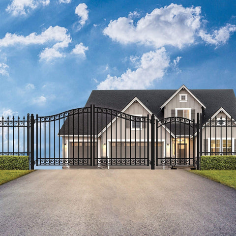 ALEKO Gates and Fences Black ALEKO Products Steel Dual Swing Driveway Gate - DUBLIN Style - 12 ft with Pedestrian Gate - 5 ft SET12X4DUBD-AP