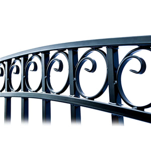 ALEKO Gates and Fences Black ALEKO Products Steel Dual Swing Driveway Gate - DUBLIN Style - 14 ft with Pedestrian Gate - 5 ft VSET14X4DUBD-AP