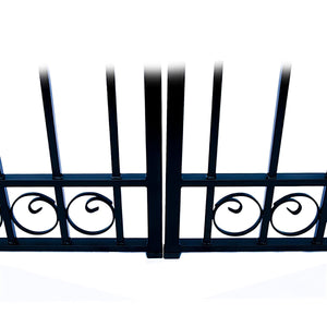 ALEKO Gates and Fences Black ALEKO Products Steel Dual Swing Driveway Gate - DUBLIN Style - 16 ft with Pedestrian Gate - 5 ft SET16X4DUBD-AP