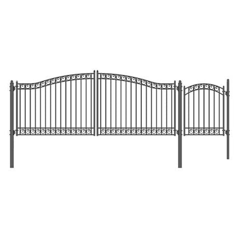Image of ALEKO Gates and Fences Black ALEKO Products Steel Dual Swing Driveway Gate - DUBLIN Style - 16 ft with Pedestrian Gate - 5 ft SET16X4DUBD-AP