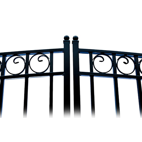 ALEKO Gates and Fences Black ALEKO Products Steel Dual Swing Driveway Gate - DUBLIN Style - 18 ft with Pedestrian Gate - 5 ft SET18X4DUBD-AP