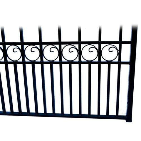 Image of ALEKO Gates and Fences Black ALEKO Products Steel Dual Swing Driveway Gate - LONDON Style - 12 x 6 Feet DG12LOND-AP