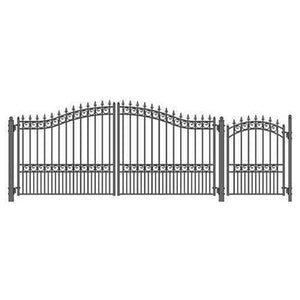 ALEKO Gates and Fences Black ALEKO Products Steel Dual Swing Driveway Gate - LONDON Style - 14 ft with Pedestrian Gate - 5 ft SET14X4LOND-AP