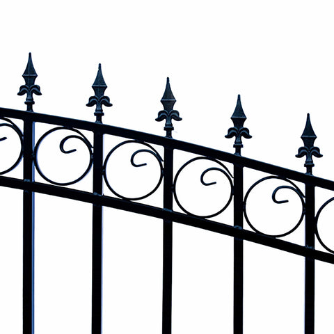 ALEKO Gates and Fences Black ALEKO Products Steel Dual Swing Driveway Gate - LONDON Style - 16 ft with Pedestrian Gate - 5 ft SET16X4LOND-AP