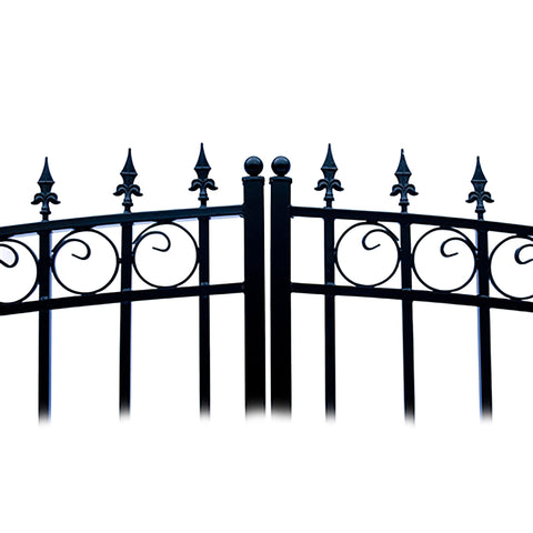 ALEKO Gates and Fences Black ALEKO Products Steel Dual Swing Driveway Gate - LONDON Style - 18 ft with Pedestrian Gate - 5 ft