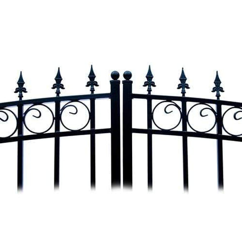 Image of ALEKO Gates and Fences Black ALEKO Products Steel Dual Swing Driveway Gate - LONDON Style - 18 x 6 Feet DG18LOND-AP