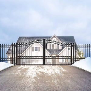ALEKO Gates and Fences Black ALEKO Products Steel Dual Swing Driveway Gate - LONDON Style - 18 x 6 Feet DG18LOND-AP