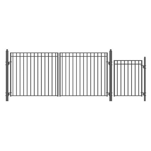 ALEKO Gates and Fences Black ALEKO Products Steel Dual Swing Driveway Gate - MADRID Style - 14 ft with Pedestrian Gate - 5 ft SET14X4MADD-AP